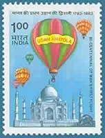 Bicentennial of Man's First Flight 1783-1983 : Udan Khatola Hot-air Balloons Taj Mahal Manned Flight Rs 1
