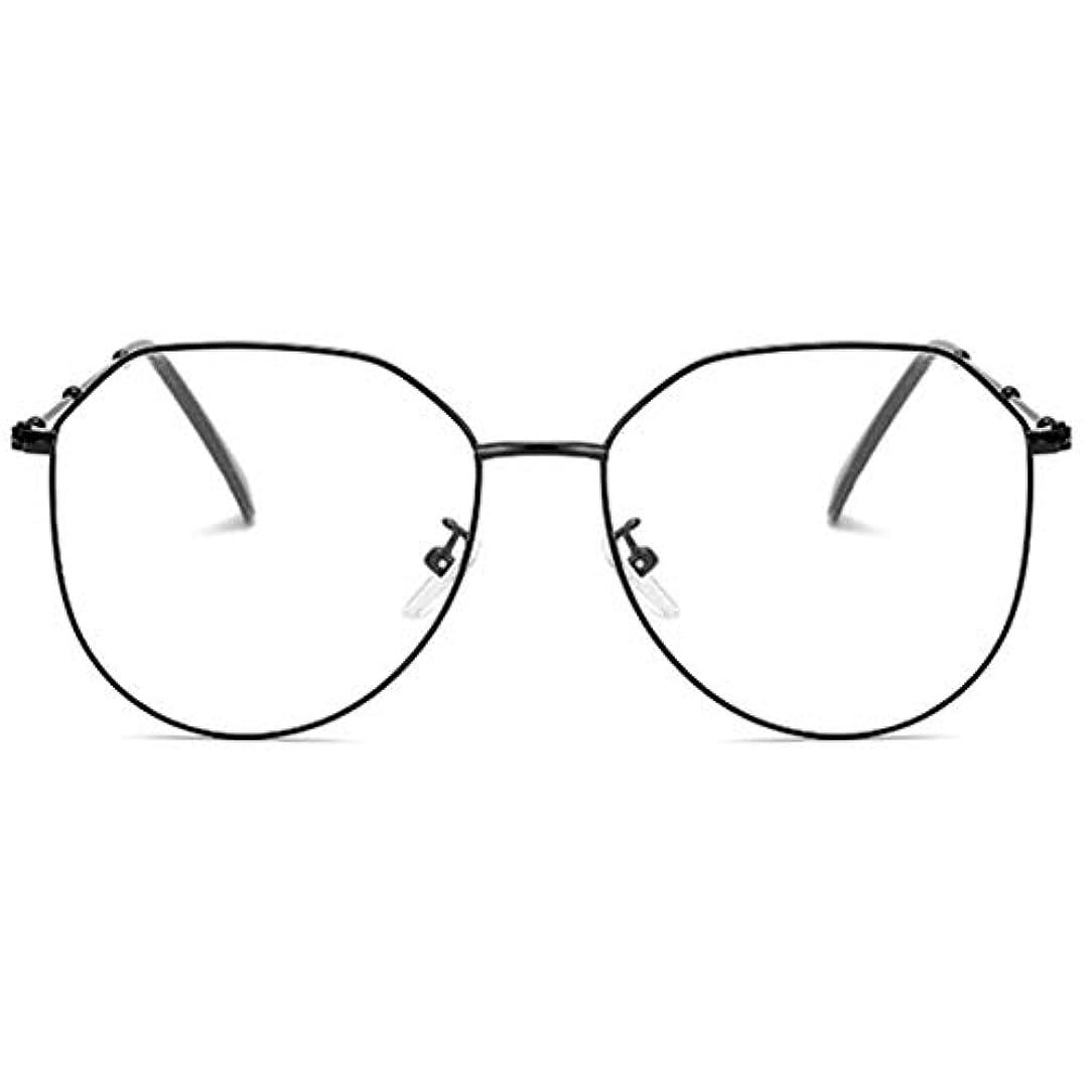 権限割り込み覚醒放射線防護アンチブルーライト男性女性メガネ軽量金属フレームプレーンミラーレンズアイウェアメガネ-ブラック