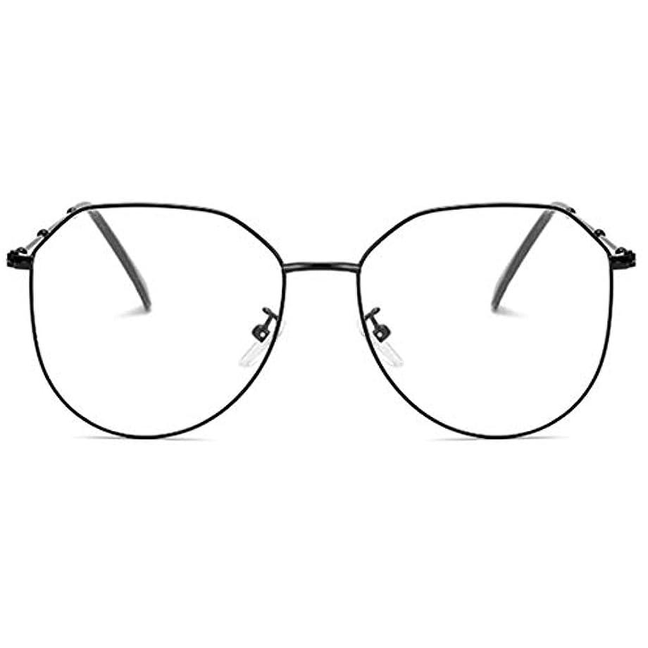 検査官まさに簡略化する放射線防護アンチブルーライト男性女性メガネ軽量金属フレームプレーンミラーレンズアイウェアメガネ-ブラック