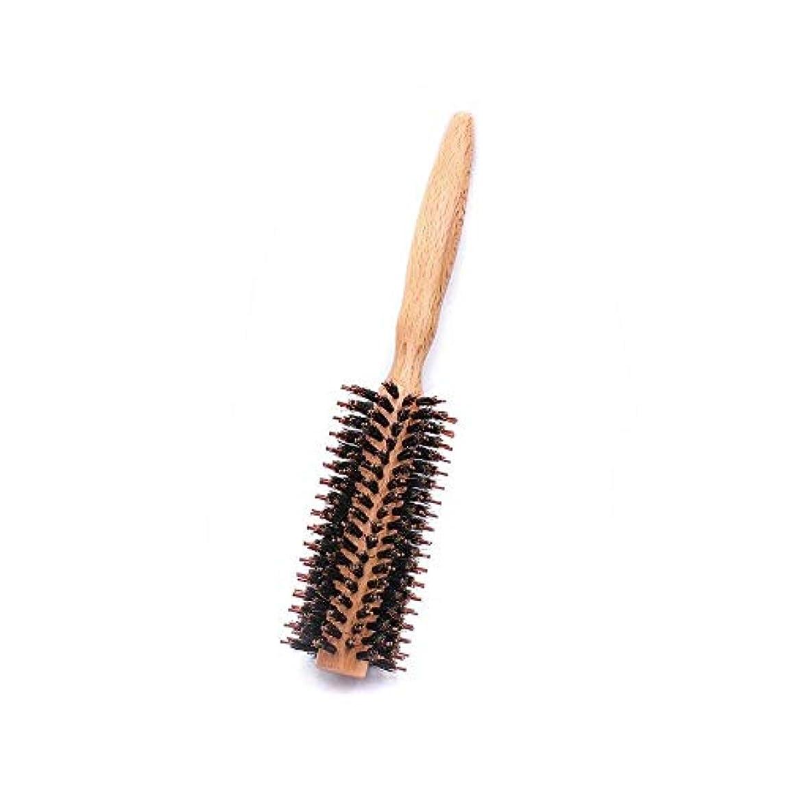 空気無数のヘクタールヘアコーム理髪くし ラウンドスタイリングヘア毛ブラシ - ナチュラル木製ハンドルの櫛でドライヤー&カーリングロールヘアブラシフェラ ヘアスタイリングコーム (Color : Twill, Size : S)