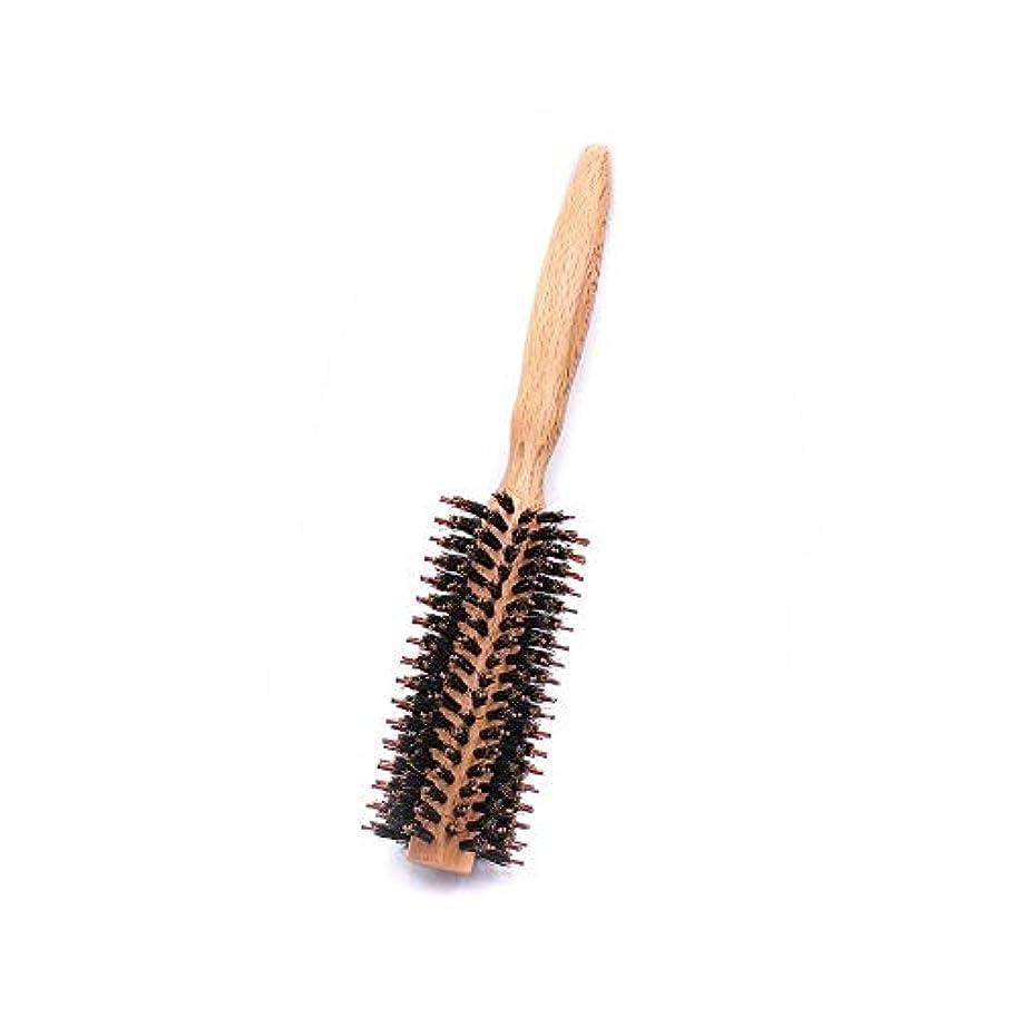 栄光腹部一回ヘアコーム理髪くし ラウンドスタイリングヘア毛ブラシ - ナチュラル木製ハンドルの櫛でドライヤー&カーリングロールヘアブラシフェラ ヘアスタイリングコーム (Color : Twill, Size : S)