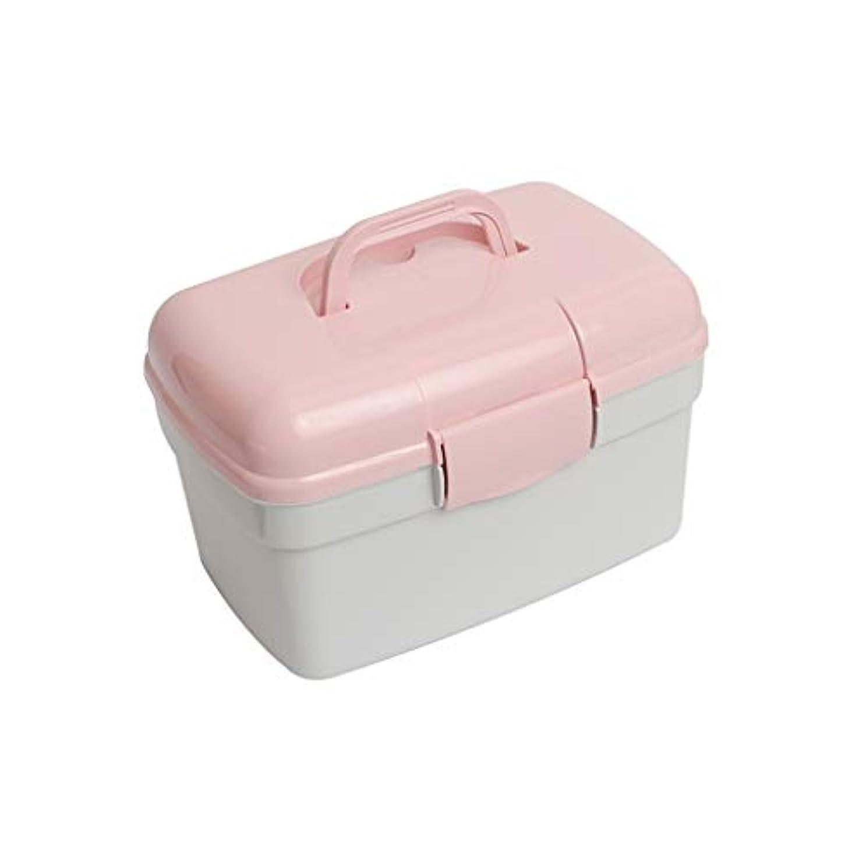 パンサー重要な役割を果たす、中心的な手段となる通行料金ZWYHSD 二重層の薬箱の貯蔵のオルガナイザー箱、プラスチック緊急の救急箱 ホーム、旅行、職場 (Color : Pink)