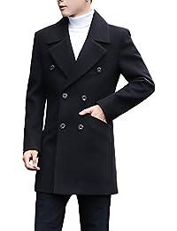 FOMANSH コート メンズ 秋冬 メンズジャケット メルトンPコート トレンチコート チェスターコート スリム 無地 大きいサイズ M-3XL ダブルボタン 厚手 保温 防寒 ビジネス アウター