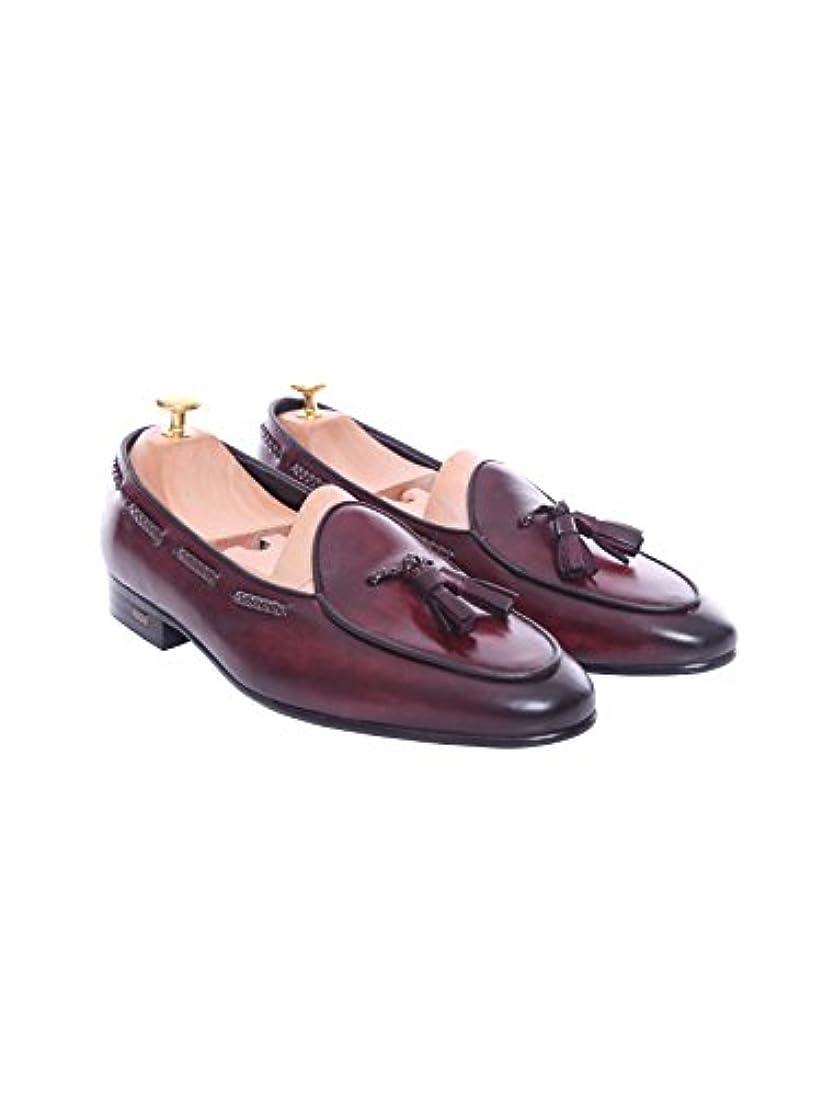 感心する入場許可Zeve Shoes Belgian Loafer - Red Burgundy With Tassel (Hand Painted Patina)