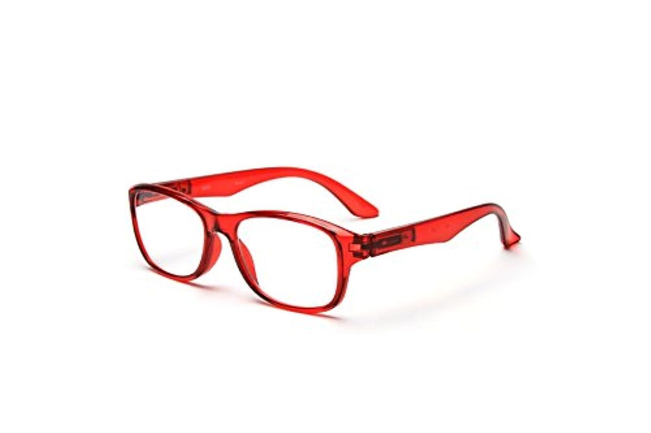 老眼鏡 おしゃれ レディース メンズ (M-201) 快適バネ丁番付き (レッド、+2.50)
