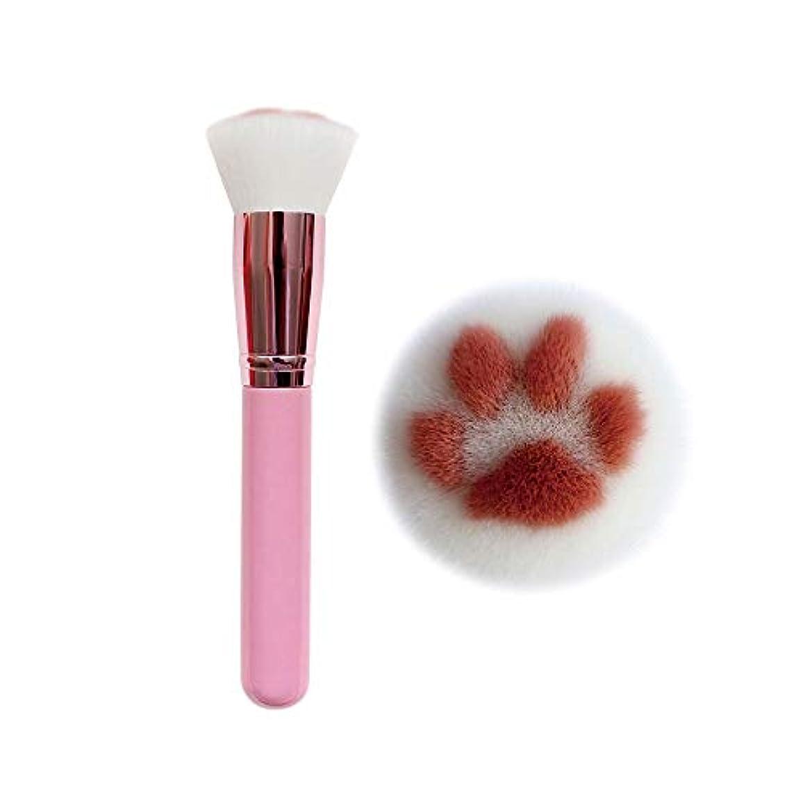 件名ラウンジ逆に化粧ブラシ、ファンデーションブラシ、猫の爪形化粧ブラシ、カワイイファンデーションブラシ、バーチハンドルレーヨン化粧ブラシ美容化粧ツール (Pink)