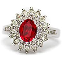 Providence Vintage Jewelry Ruby and Clear Swarovski Crystal 18k White Gold Plated Ring