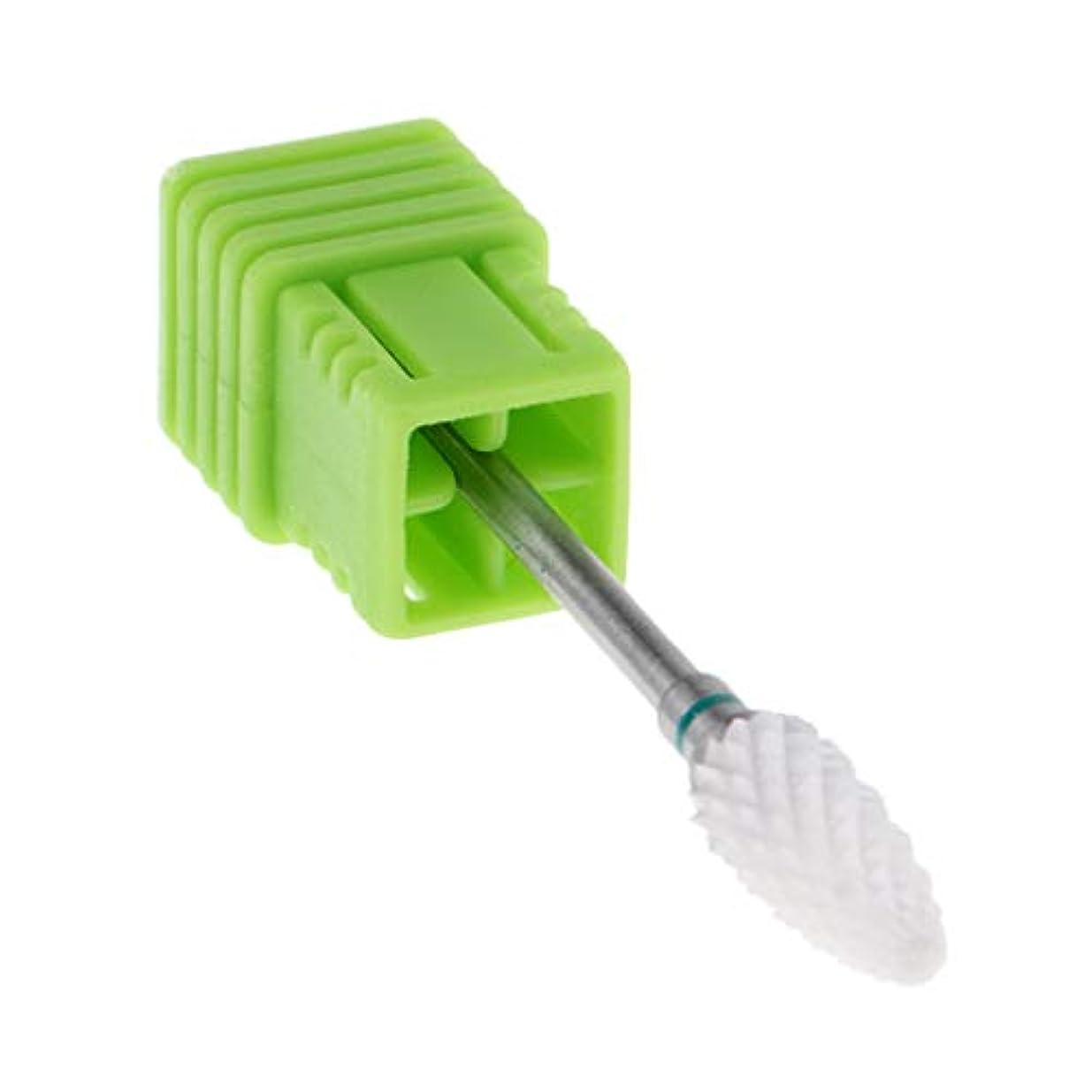 ルームより平らな褐色P Prettyia セラミック 研磨ヘッド ネイルドリルビット 電気ネイルマシン用 全3色 - 緑(粗)
