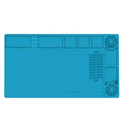 E·Durable 作業マット 卓上作業マット シリコン製 38cm*21cm 500℃高温熱風に耐える 無毒 静電気防止 断熱パッド 作業用マット マグネット付 滑り止めデスク修理マット はんだ 耐熱パッド 絶縁パッド 溶接用 耐切創 電子製品 携帯 パーソコン 分解修理用ツール
