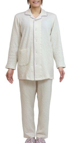(パジャマ工房)パジャマ メンズ兼レディース 長袖 前開き 綿100% 接結ニット[1204] Lネイビー