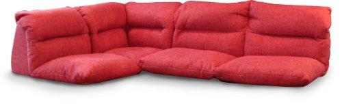 3人掛け TV枕として使えるローソファ3点セット リラクシア ピンク FA9754