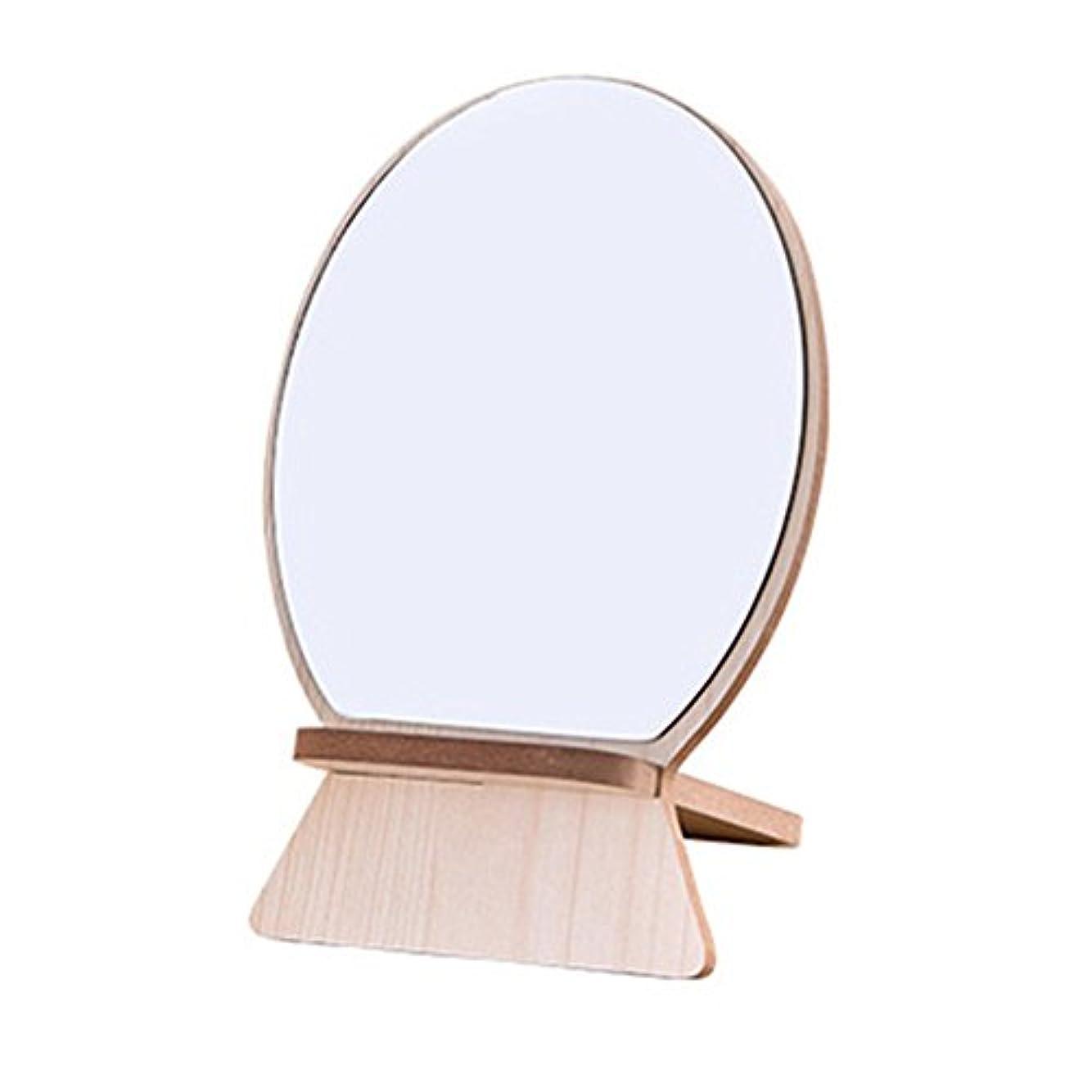 成分タイヤ掃除化粧鏡 木目 木製スタンドミラー 折りたたみ式 角度調整自由自在 角型コンパクトミラー 卓上鏡