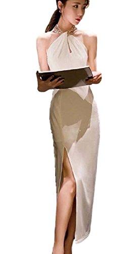 (PlaisteL) スパンコール ホルターネック スリット 入り シンプル ロング ワンピース ドレス (ホワイト S)