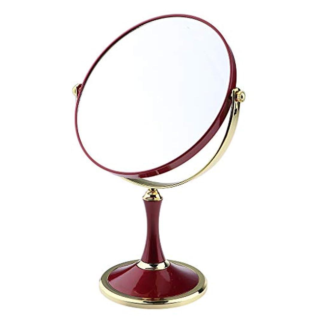 薬夜の動物園難民化粧鏡 スタンド 卓上ミラー メイクアップミラー メイクミラー 拡大鏡 360度回転 2色選べ - 赤