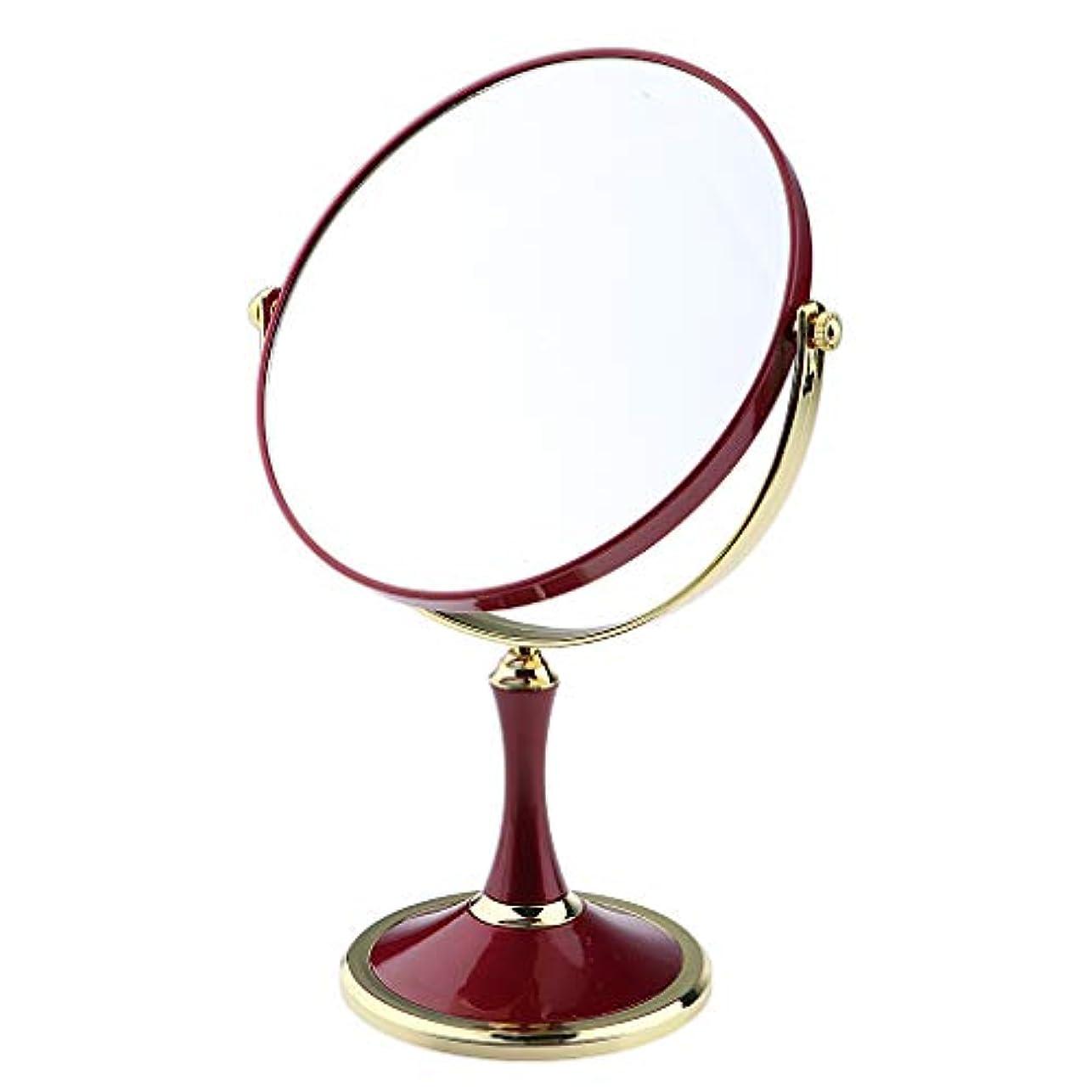メッシュ追跡粘液化粧鏡 スタンド 卓上ミラー メイクアップミラー メイクミラー 拡大鏡 360度回転 2色選べ - 赤