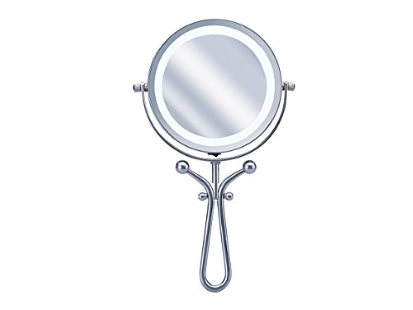 推進折おばあさんコイズミ 拡大鏡 LEDライト付き 1倍/7倍 手鏡/卓上型φ115mm KBE-3030/S