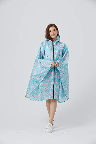 Women Rain Poncho Stylish Polyester Waterproof Raincoat Free Size with Hood Zipper Styles - - L (Freesize)