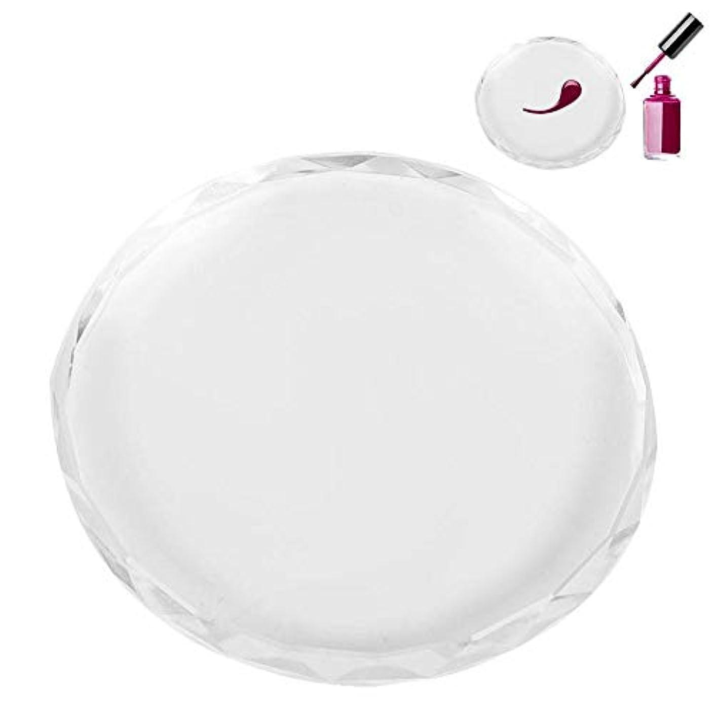 朝食を食べる昼食専門知識ネイルパレット、ネイルアートパレット ネイルポリッシュプレゼンテーションプレート 透明ガラス 色塗料トレイ ネイルDIYツール(02)