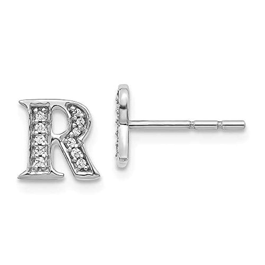 鈍い窒息させる裁判所KIOKORI 14Kホワイトゴールド ダイヤモンドイニシャル文字Rピアス 1/10カラット