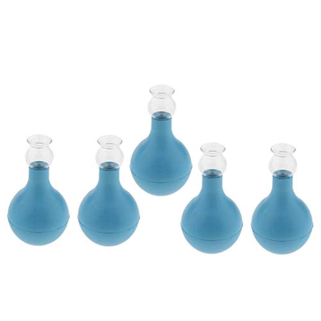 公描写式シリコン ガラス カッピング 吸い玉 5個入り 顔 首 全身用 マッサージ 吸着力 2サイズ選ぶ - ブルー+ブルー2cm, 2cm