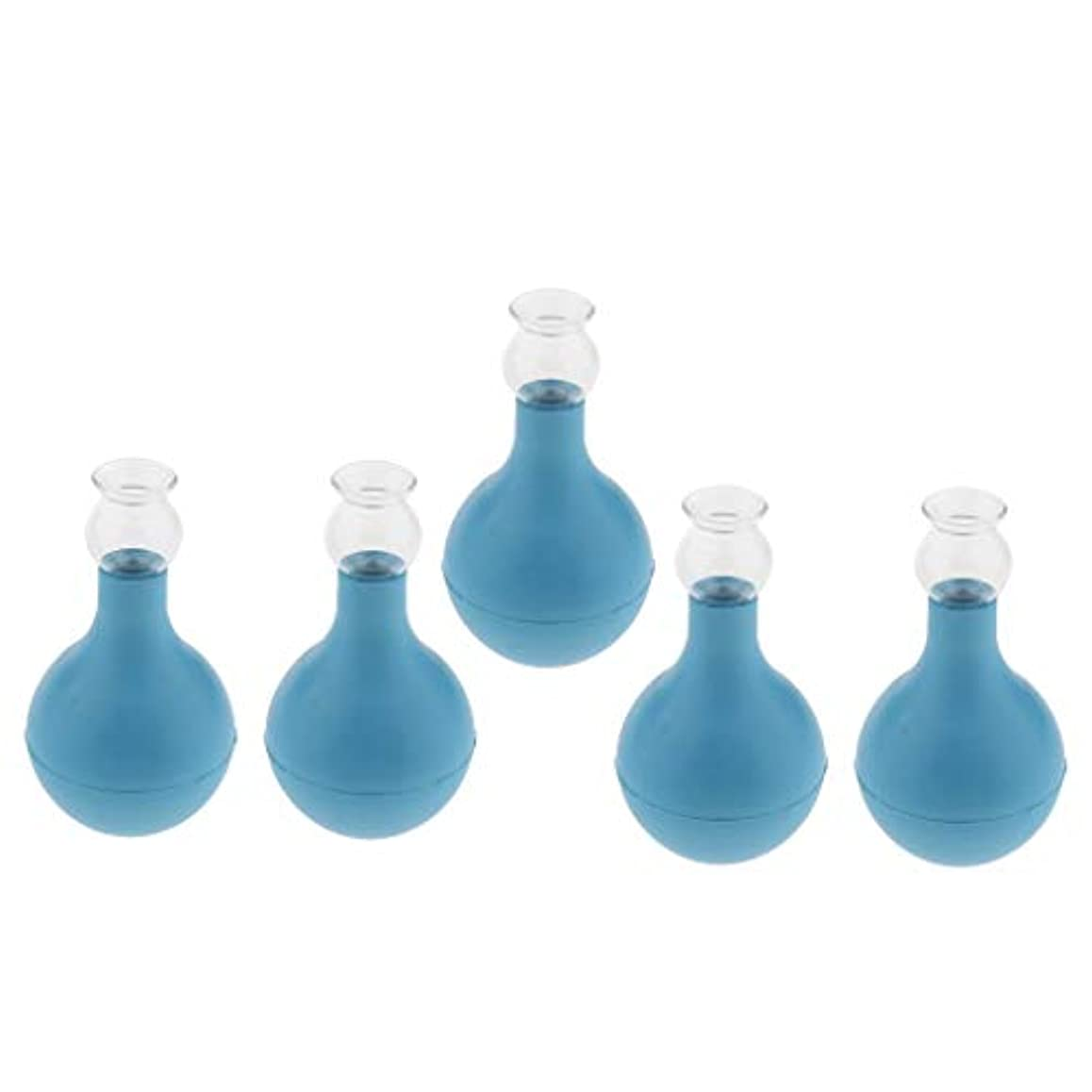 ローラープロフェッショナルマッサージ5個 セルライト対策 カッピング ガラス/シリコン マッサージ吸い玉 使いやすい 腫脹緩和 2種選ぶ - ブルー+ブルー2cm, 2cm