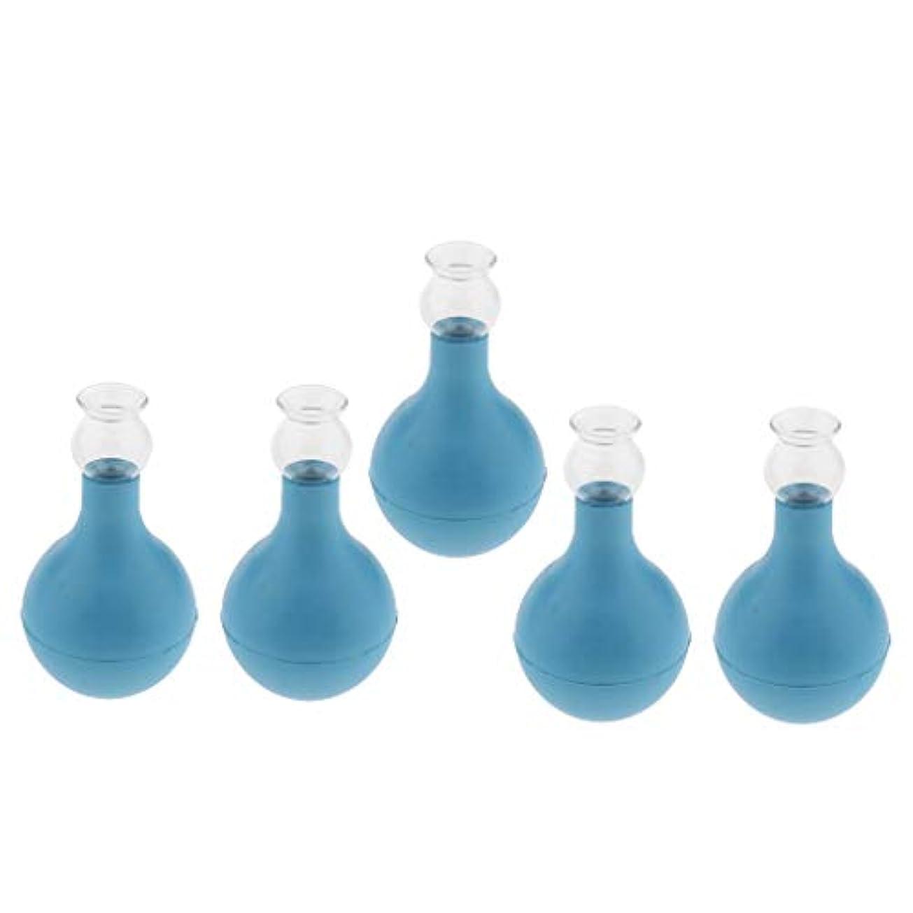 足枷議題ぼかすFLAMEER 5個 セルライト対策 カッピング ガラス/シリコン マッサージ吸い玉 使いやすい 腫脹緩和 2種選ぶ - ブルー+ブルー2cm, 2cm