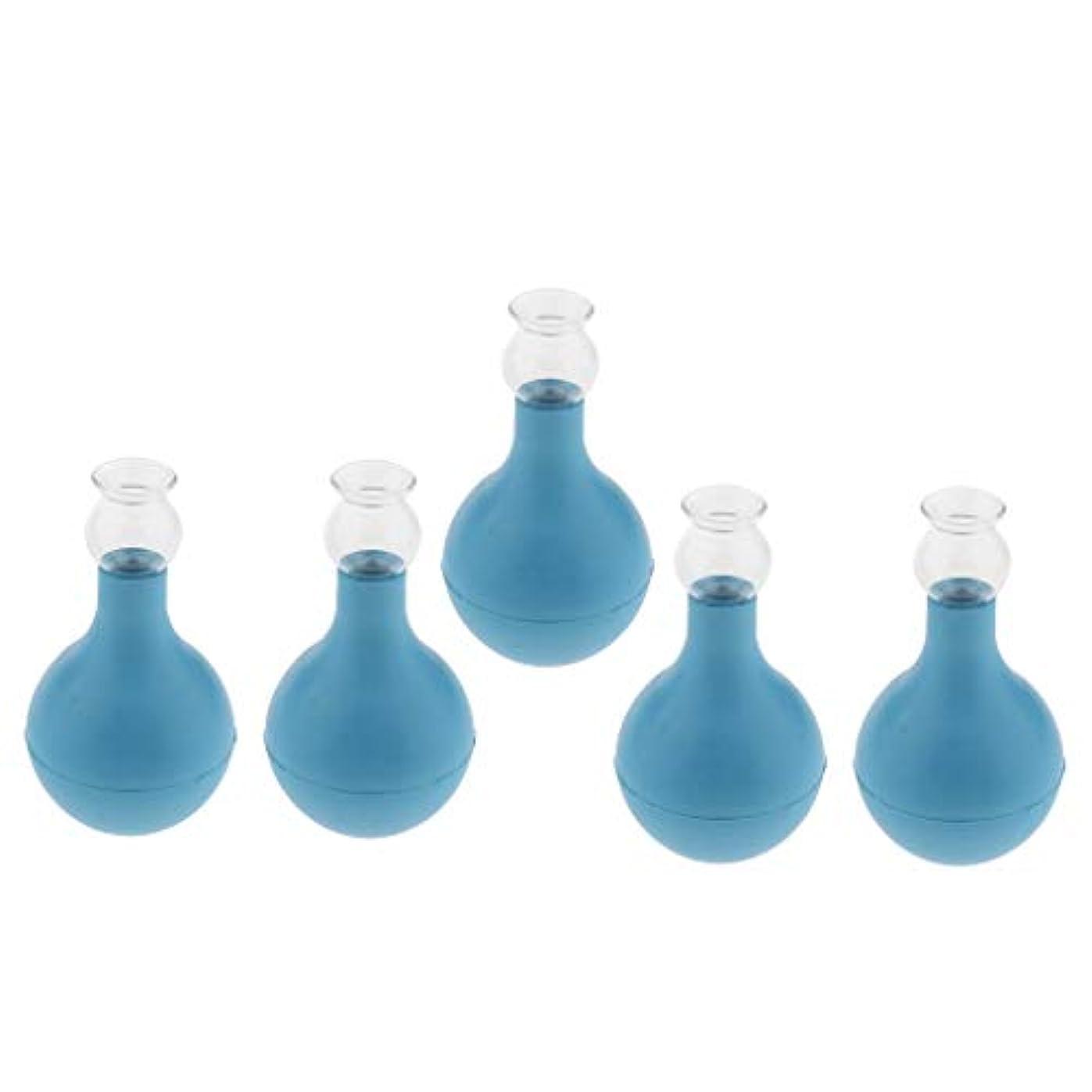 スケジュールバースミントFLAMEER 5個 セルライト対策 カッピング ガラス/シリコン マッサージ吸い玉 使いやすい 腫脹緩和 2種選ぶ - ブルー+ブルー2cm, 2cm