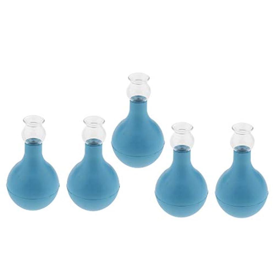 すすり泣き満足配分FLAMEER 5個 セルライト対策 カッピング ガラス/シリコン マッサージ吸い玉 使いやすい 腫脹緩和 2種選ぶ - ブルー+ブルー2cm, 2cm