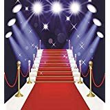 5x 7ft HollywoodレッドカーペットAvenueの星Backdropビニール布コンピュータ印刷パーティーウェディング背景d-mr-1920