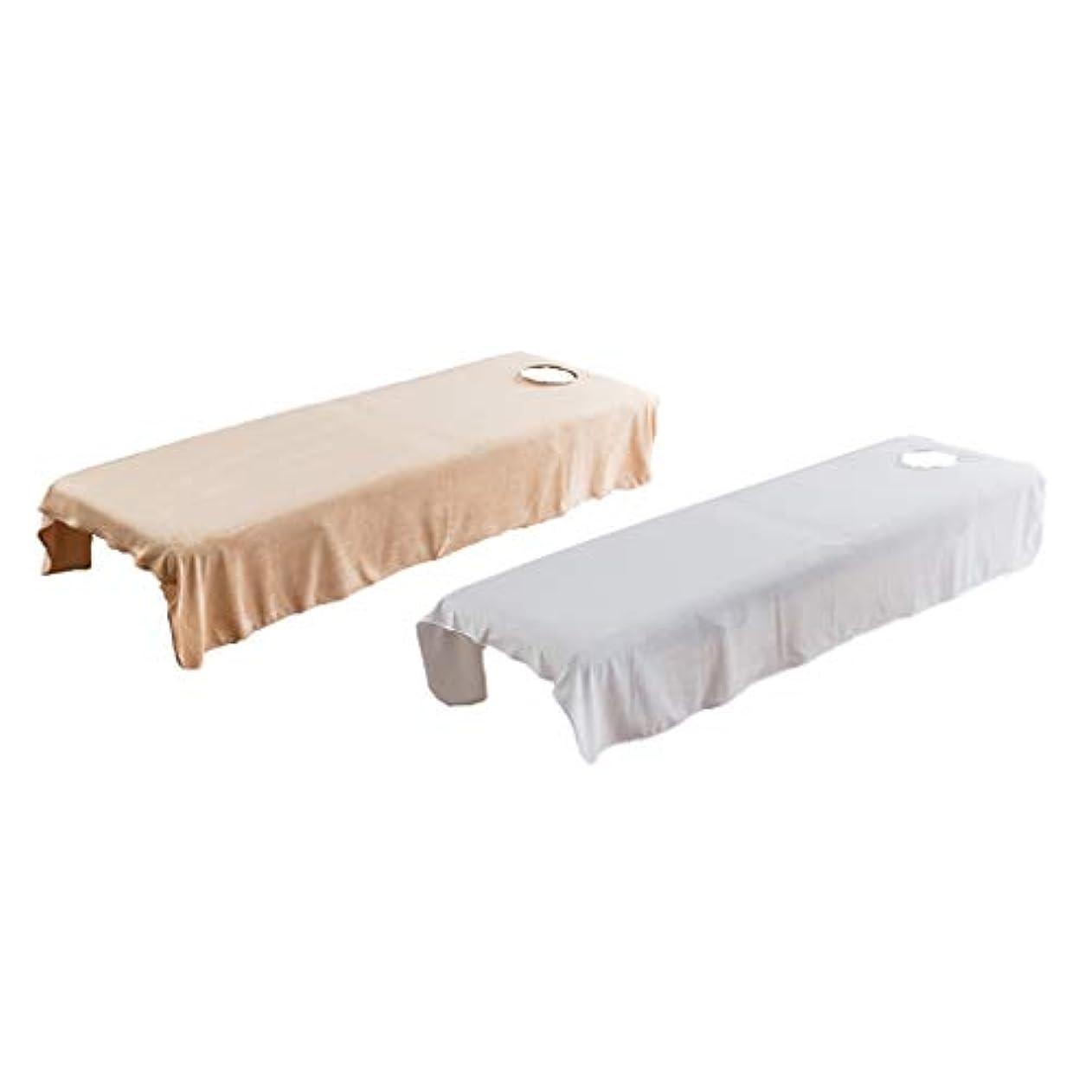 筋所属力学マッサージベッドカバー 有孔 2枚 美容ベッドカバー スパ マッサージベッドスカート 2色セット