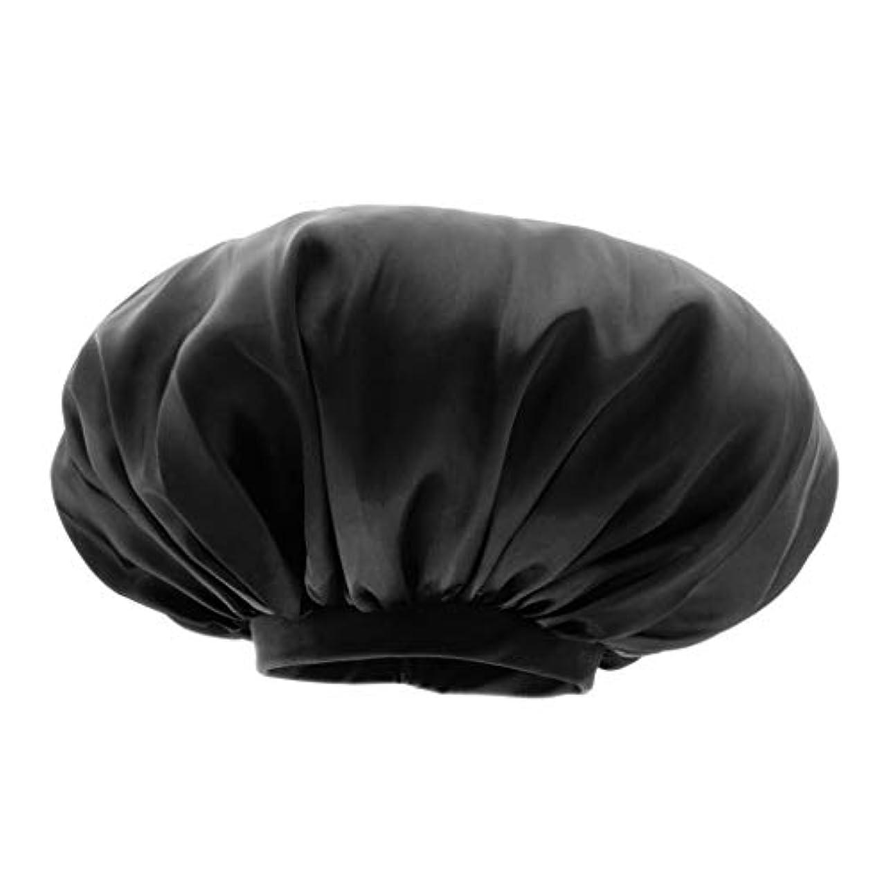 Sharplace シャワー キャップ サテン 美容 キャップ ヘアキャップ スリープキャップ 全6色 - ブラック