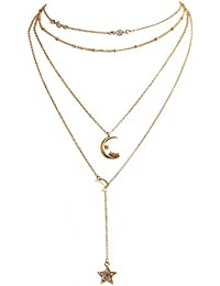 Chargances Lariat Necklace for Women Bohemia Gold Four Layered Necklace Moon Crescent Star Pendant Necklaces Gold Long Choker Necklaces Multi layer Chain for Women Moon Jewelry for Women and Girls