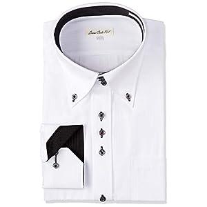 [ドレスコード101] 結婚式 ワイシャツ 形態安定 メンズ (襟高 デザイン) 披露宴 二次会 パーティー ドレスシャツ フォーマル DC60 ホワイト×ストライプ 日本 L(裄丈86) (日本サイズL相当)