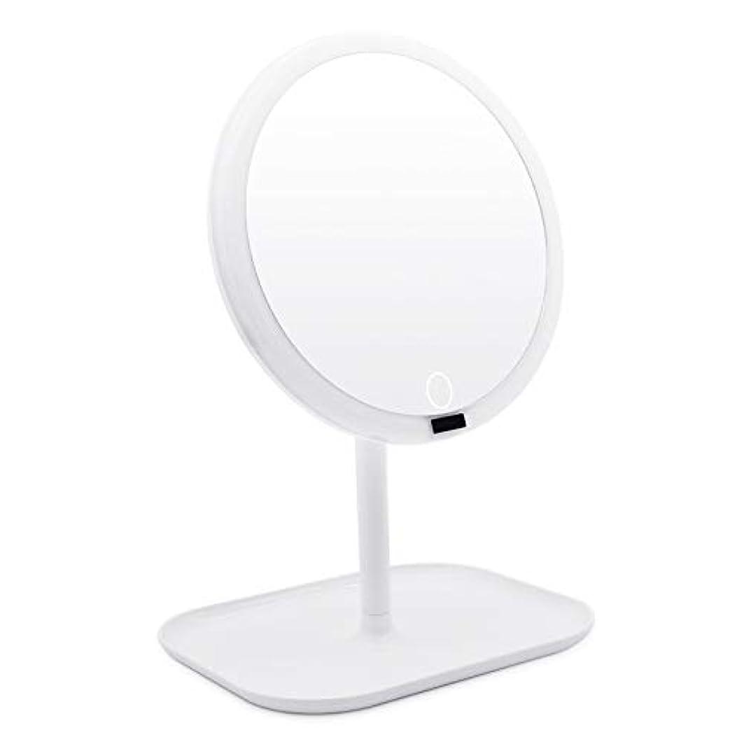 二層まっすぐのAMZTOLIFE 化粧鏡 鏡 卓上 卓上ミラー 女優ミラー スタンドミラー「ledライト付き 人感センサー搭載 無階段明るさ調節可能 360度回転 USB充電式」直径20.3cm 日本語取扱説明書付き (ホワイト)