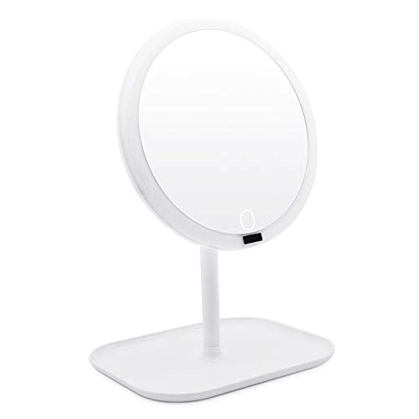 AMZTOLIFE 化粧鏡 鏡 卓上 卓上ミラー 女優ミラー スタンドミラー「ledライト付き 人感センサー搭載 無階段明るさ調節可能 360度回転 USB充電式」直径20.3cm 日本語取扱説明書付き (ホワイト)