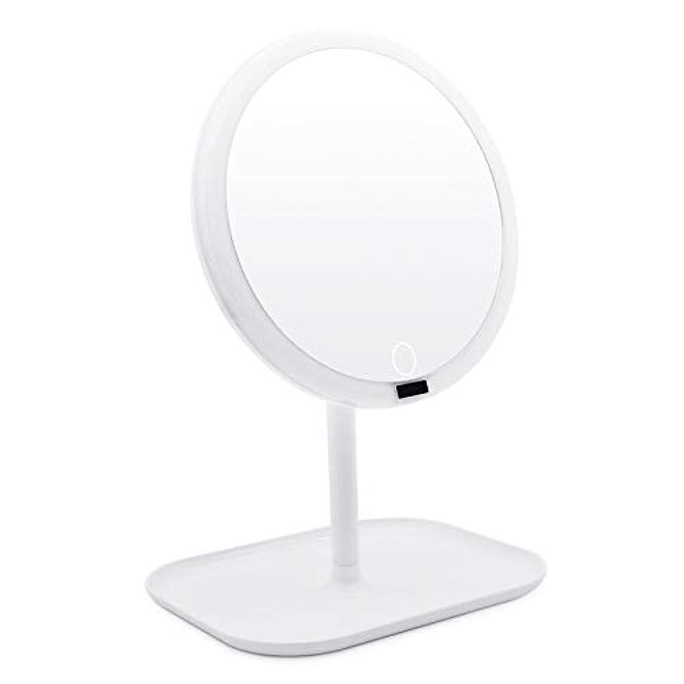 ボタン嘆くメーカーAMZTOLIFE 化粧鏡 鏡 卓上 卓上ミラー 女優ミラー スタンドミラー「ledライト付き 人感センサー搭載 無階段明るさ調節可能 360度回転 USB充電式」直径20.3cm 日本語取扱説明書付き (ホワイト) …