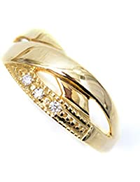 ピンキーリング 18k リング 天然 ダイヤモンド クロス 18金 デザインリング ラッキーリング お守り 小指用 pinky 小さいサイズ 指輪 (1)
