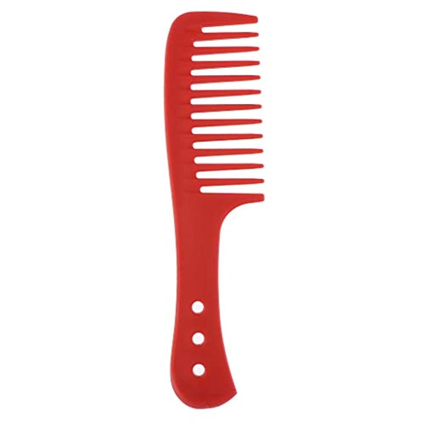 爆発協力的家具ポータブル理髪広い歯の櫛巻き毛のDetangler頭皮マッサージブラシ - 赤