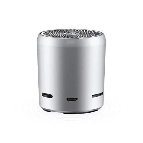 EWA A107 ワイヤレス Bluetoothコンパクトスピーカー【Bluetooth V4.0 TWS ワイヤレスステレオペアリング/コンパクト設計/TFカードスロット】(シルバー) 進化版