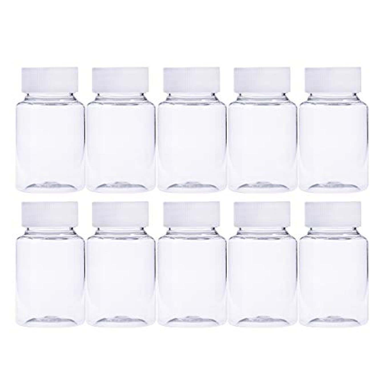 Frcolor 12個 80ml 小分けボトル 広口 クリア 詰め替え容器 薬保存 ビーズ収納 液体 化学薬品収納ボトル 化粧小分け容器 プラスチック容器
