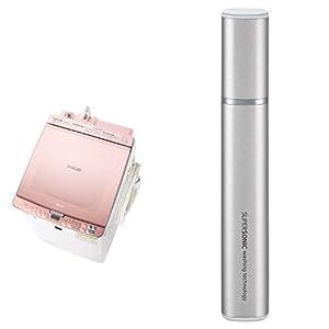 シャープ SHARP タテ型洗濯乾燥機 ガラストップ ダイヤカット穴なし槽 ピンク系 ES-PX8C-P 超音波ウォッシャー シルバー系 セット