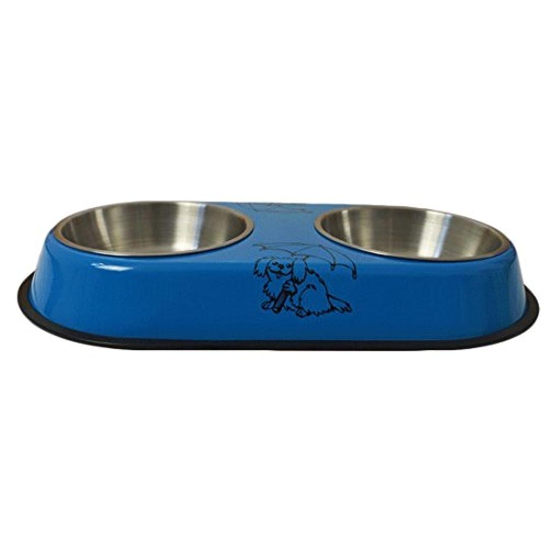 曲阜市德峰便民冷饮超市 犬のフードボウル犬のボウル犬のポットの猫のボウルの猫の食品のペットボウルのダブルボウルのペット用品 (色 : 青, サイズ : Small: 35cm long)
