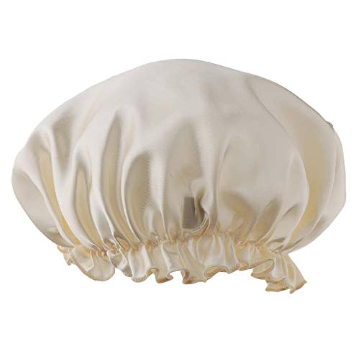 インテリアピンフレットシャワーキャップ シルクサテン 眠り帽子 ヘッドカバー 睡眠キャップ ヘアケア 全8色 - ベージュ