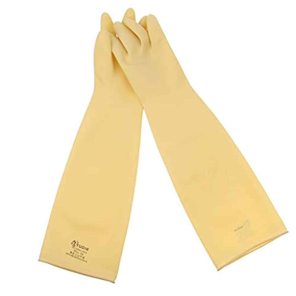 バングラデシュ免除酔うgazechimp ニトリルゴム手袋 ロング 酸?アルカリに強い 耐油性 ゴム手袋 60cm