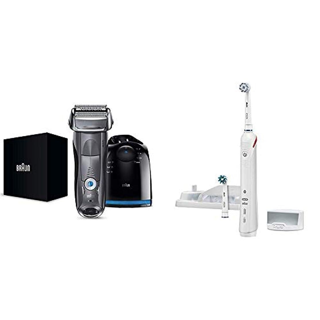【Amazon.co.jp 限定】ブラウン メンズ電気シェーバー シリーズ7 7867cc 4カットシステム 洗浄機付 水洗い/お風呂剃り可 & ブラウン オーラルB 電動歯ブラシ スマート4000 D6015253P