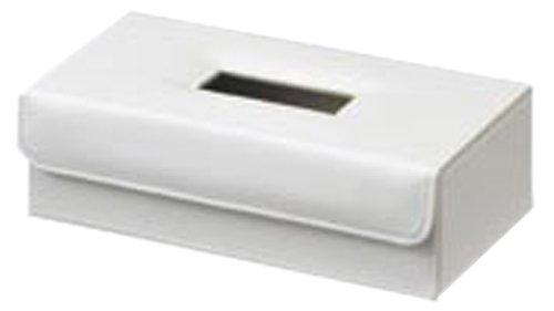 ティッシュケース フェイク レザー ティッシュ カバー ケース アイボリー 約26.5×14×8cm 57-00IV