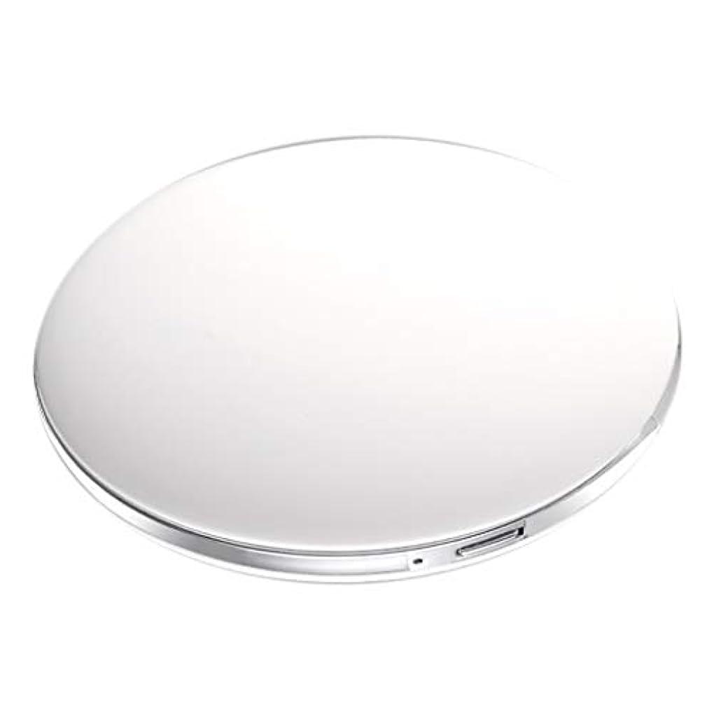 大混乱輝度大量両面コンパクトミラー 拡大鏡付き手鏡 LEDミラー 女優ミラー 3倍拡大 折りたたみ式 充電 全5色 - 白