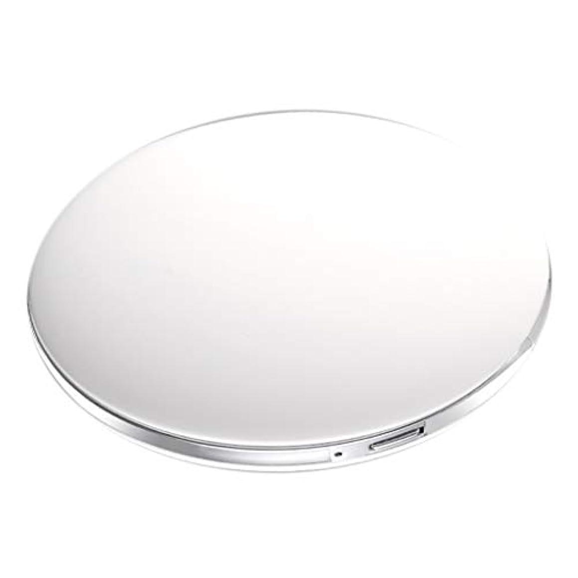 増幅器行方不明呼び起こす両面コンパクトミラー 拡大鏡付き手鏡 LEDミラー 女優ミラー 3倍拡大 折りたたみ式 充電 全5色 - 白