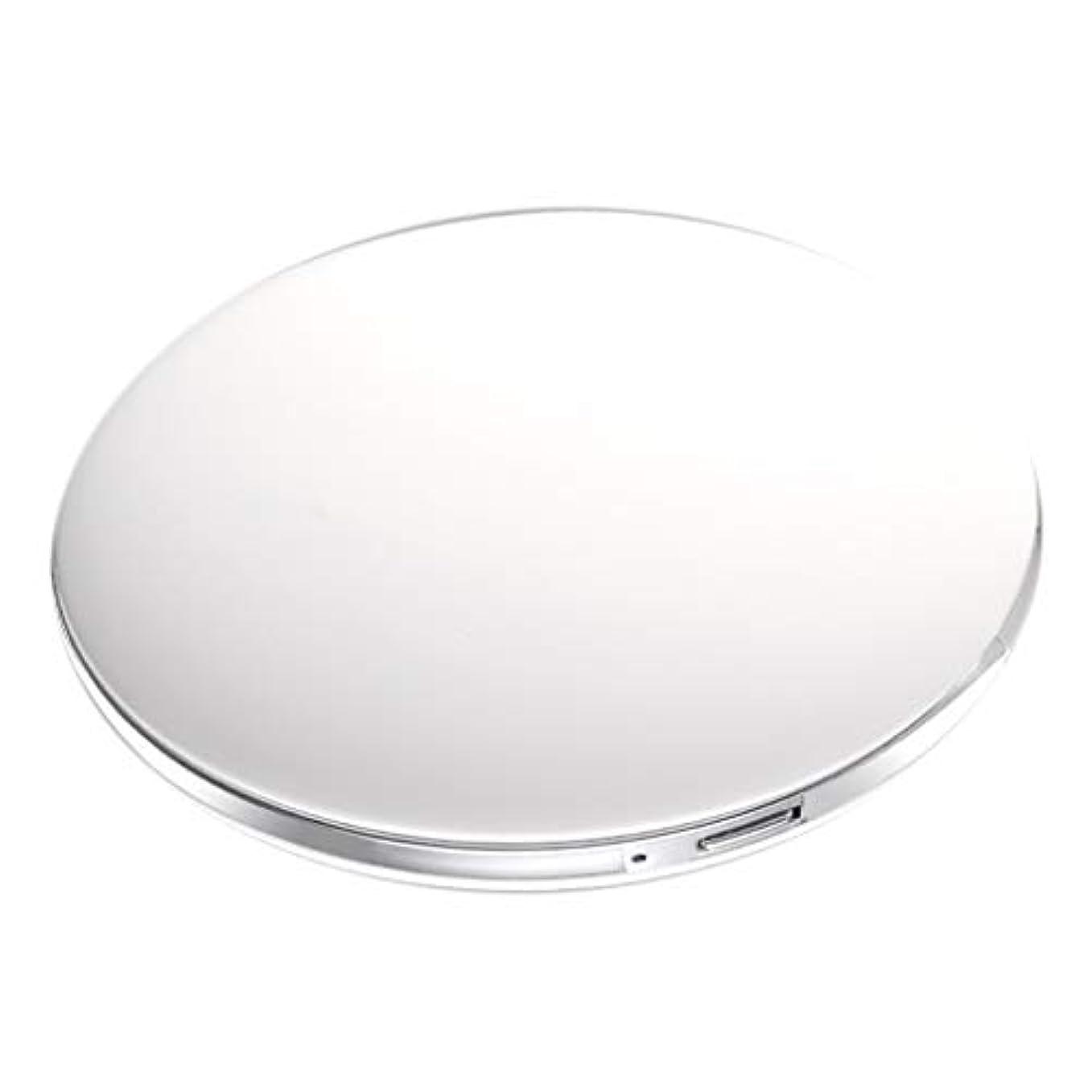 機知に富んだ排除する熱心な両面コンパクトミラー 拡大鏡付き手鏡 LEDミラー 女優ミラー 3倍拡大 折りたたみ式 充電 全5色 - 白