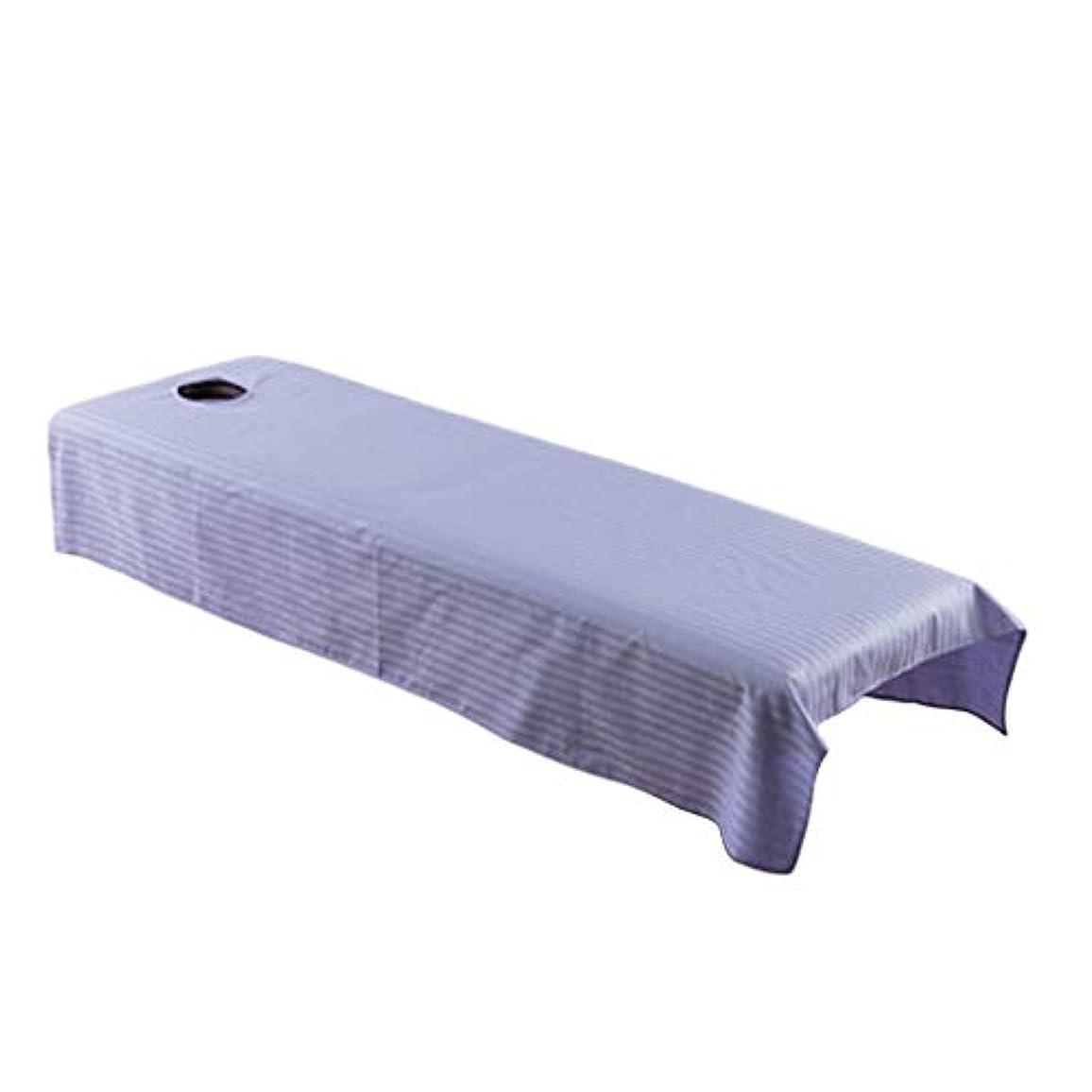 瞑想するマッサージ鮮やかなマッサージベッド カバー シート 有孔 コットン 美容院 マッサージサロン 全5カラー - ライトパープル